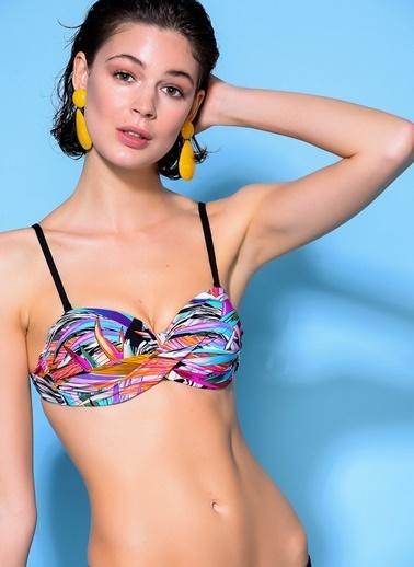 Loves You Yaprak Desenli Dönmeli Bikini Takım Hardal